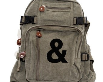 Ampersand Canvas Backpack, Rucksack, Travel, Typography Gifts, Small Backpack, Diaper Bag, Weekender Bag, Gift for Women, Gift for Wife