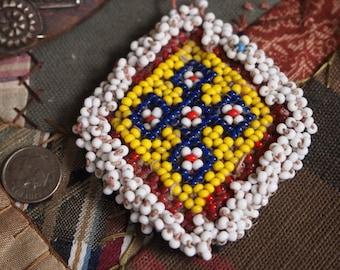 SALE - 25% OFF WAS 10.00 Vintage Diamond-Shaped Afghani Handmade Beaded Tribal Medallion - One of a Kind