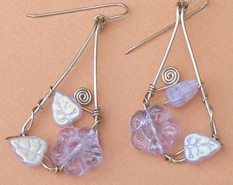 Sterling Silver Earrings with Lavender Glass Flowers