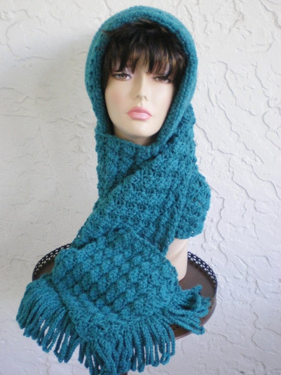 Knitting Pattern For Hat With Scarf Attached : hand knit hood scarf hat hand crochet hood shells by annmag