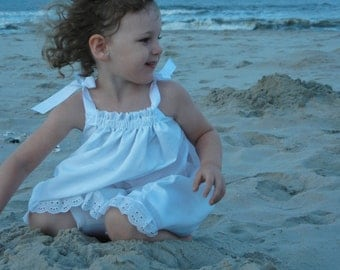 White beach portrait lined  pillowcase dress with eyelet trim in sizes preemie to 14 girls