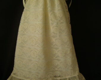 Ready to ship beautiful antique white baptism christening blessing gown size 0-9 months