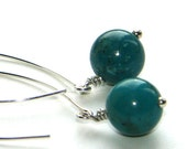 Turquoise Sphere Earrings on Long Silver Marquis Ear-wires