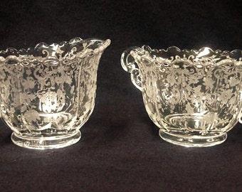 Sale: Cambridge Chantilly Glass Sugar and Creamer Set