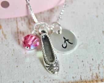 Girls Ballet Necklace, Dancer Ballerina Sterling Silver Charm, Custom Personalized Children's Jewelry
