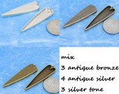 10pcs 14.5X53mm Great long heart mix Pewter bezel blank Pendant Tray
