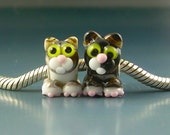 RESERVED for Shelia 2 Kitty Cat Handmade Lampwork Glass BHB European Charm Big Hole Beads sra Gelly