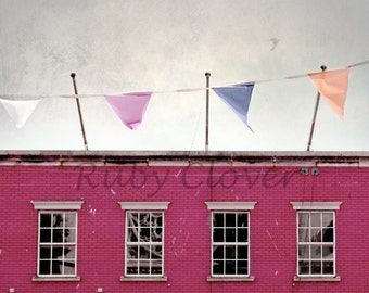 Happy Day, Drogheda, Irish City Scene, Pastel Bunting, Pink House, Ireland Street Photography, Colorful Building, Louth, Overcast, Dublin