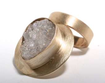 Beautiful sterling silver gold plated ring with a beautiful druzy size 6 by zulasurfing