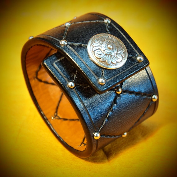 Black Leather cuff bracelet harlequin Diamonds and studs made for You In Brooklyn USA by Freddie Matara