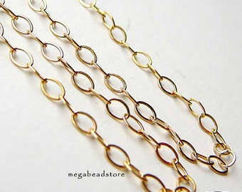 10 feet 3mm 14K Gold Filled Loose Chain Flatten Rings 3.2mm x 2.1mm CH20