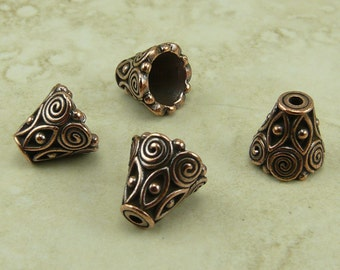 4 TierraCast Ornate Spiral Cone Bead Caps > Swirl Bali Style - Copper Plated LEAD FREE pewter - I ship internationally 5641