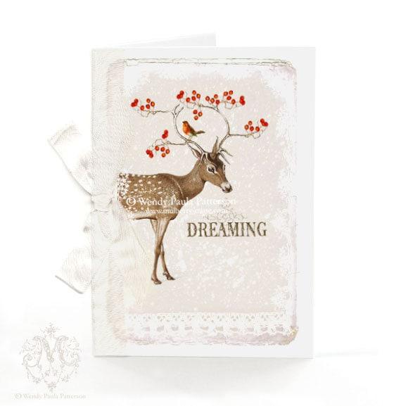 Deer Christmas card, woodland, lace, dreaming, red berries, robin, reindeer, white Christmas, winter