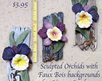 Tutorial ... Polymer Clay Sculpted Orchid Pin or Pendant