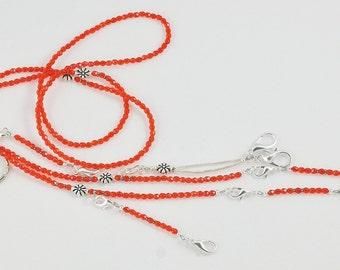Orange Beaded Needlework Chatelaine