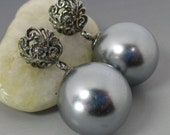 Silvery Grey South Sea Shell Pearls Sterling Silver Floral Post Earrings