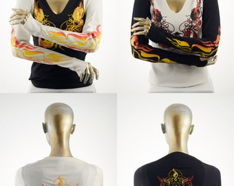 Flame Retardant Shrug, Flame design print