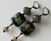ON SALE Lampwork beaded earrings, black lampwork beads, antique brass, swarovski crystals, beaded jewelry
