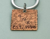 Initial Key Ring - Wedding Gift - Anniversary - Engagement - Hand Stamped Copper on Stainless Steel Ring