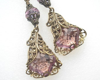 Lacy Lavender Blue Earrings - Filigree Wrapped Alexandrite Glass