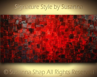 Original Acrylic Painting Abstract Red Painting Textured Large Abstract Wall Art Modern Art Palette Knife Canvas Painting 48x24 by Susanna