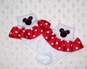 Minnie Mouse Applique Red Polka Dot Ruffle Ribbon Socks