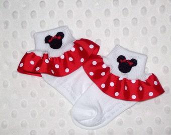 Minnie Mouse Applique Red Polka Dot Ruffle Ribbon Socks - Vacation - School - Holiday - Christmas - Cruise Ship socks