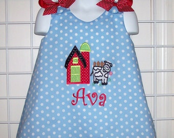 Red Dot Barn and COW Applique Monogram Farm Birthday Party Dress