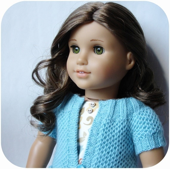 """Pip Round Yoke Cardigan With Pockets - PDF Knitting Pattern For 18"""" American Girl Dolls - Instant Download"""