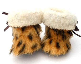 Baby Boots Toddler Boots Cheetah Fur Baby Boots Baby Shoes Toddler Shoes Baby Ugg Mukluk Booty Shoe Baby Bootees Booty Infant Newborn Shoe