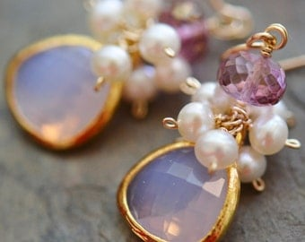 Lavender Opal, Pink Quartz, Freshwater Pearl Earrings, Glass Gold Bevel Focal, 14K Gold Fill French Ear Wires, Sweet Nothings
