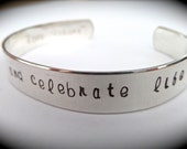 """Sterling Silver Engraved Cuffs - Choose Your message - 18 Gauge Polished - 3/8"""" wide."""
