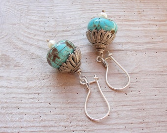 Bohemian Turquoise Earrings Sterling Silver Turquoise Stone Pearls