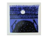 Miles and Worlds Ceramic Tile (Blue/Black)