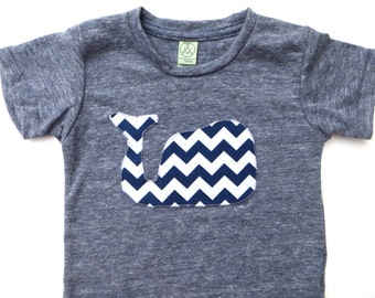 Chevron Whale Kids Tshirt navy and white shirt Infant Kids American Apparel