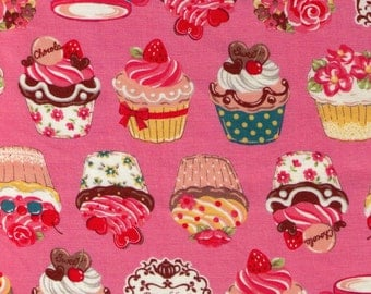 HALF YARD - Cupcake and Teacups on Pink - Afternoon Tea and Cupcakes - Cosmo Textiles Japanese Import Fabric