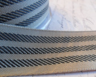 Soft Kraft Brown and Black Fabric Stripe Ribbon 1.5 inches wide
