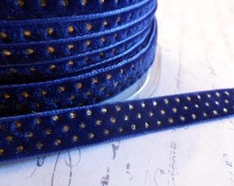 "3/8"" Deep Royal Blue with Metallic Gold Dots Velvet Ribbon"