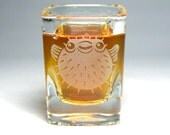 Pufferfish Shot Glass - etched square shot glass - cute nautical gift