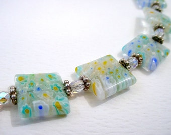 Millefiori Glass Necklace - Silver Clasp - Square Flower Beads