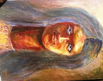 Vintage Painting Long Haired Girl by E. Telleh Tribal 1980s Mixed Media OOAK Blue Yellow Brown Ghana epsteam Gift Sale