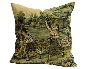 Vintage Tapestry & Ticking Pillow - Green Ticking - Children Playing - Romantic French Farmhouse