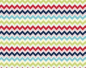 1 Yard - Dress Up Days Blue Chevron Cotton Fabric Doohikey Designs for Riley Blake Fabrics