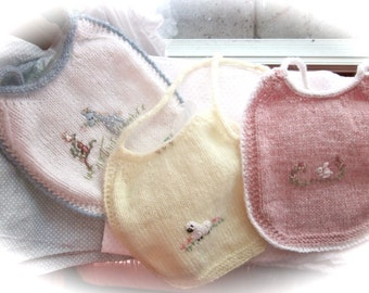 Baby Bibs (Set of 3) Hand Knit, Hand Embroidered / The Other Bib- Pretty and Practcal