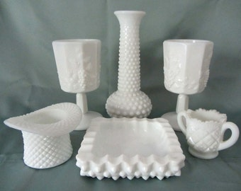 Milk Glass Six Piece Set Of Goblets, Ash Tray, Top Hat, Vase and Toothpick Holder