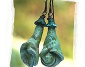 Urban primitive polymer clay flower earrings - Earthy romantic verdigris patina flower earrings