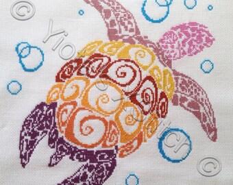 Turtle - modern counted cross stitch kit