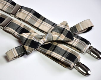 Men's Black and Tan Bow Tie and Suspenders