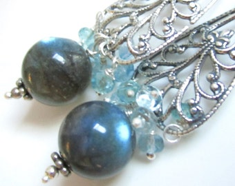 RESERVED Labradorite Orbs, Aquamarine and Sterling Fancy Earrings