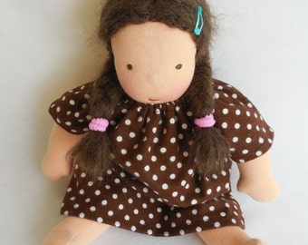 10 -12 inch, doll clothes, for Waldorf dolls, brown polkat dot, doll nightgown, doll dress, doll frock, germandolls, gift for girls
